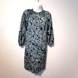 Anthropologie Maeve blue and green button up dress